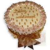 33. kép: Ünnepi torták - Születésapi bézs virágos barna szalagos torta