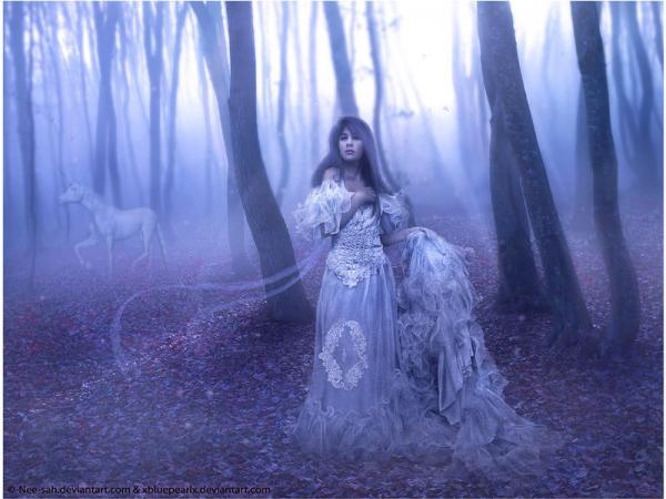 Princess And Unicorn In The Wood, Gothic