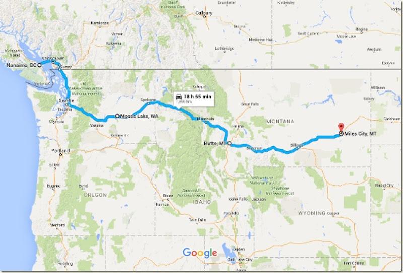 Nanaimo, BC, Canada to Miles City, MT - Google Maps