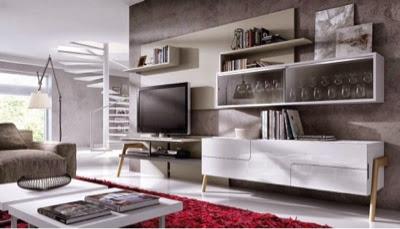 mueble moderno lacado blanco y arena