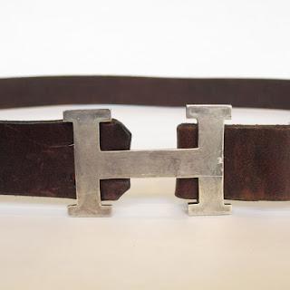 "Sterling Silver ""H"" Buckle Belt"