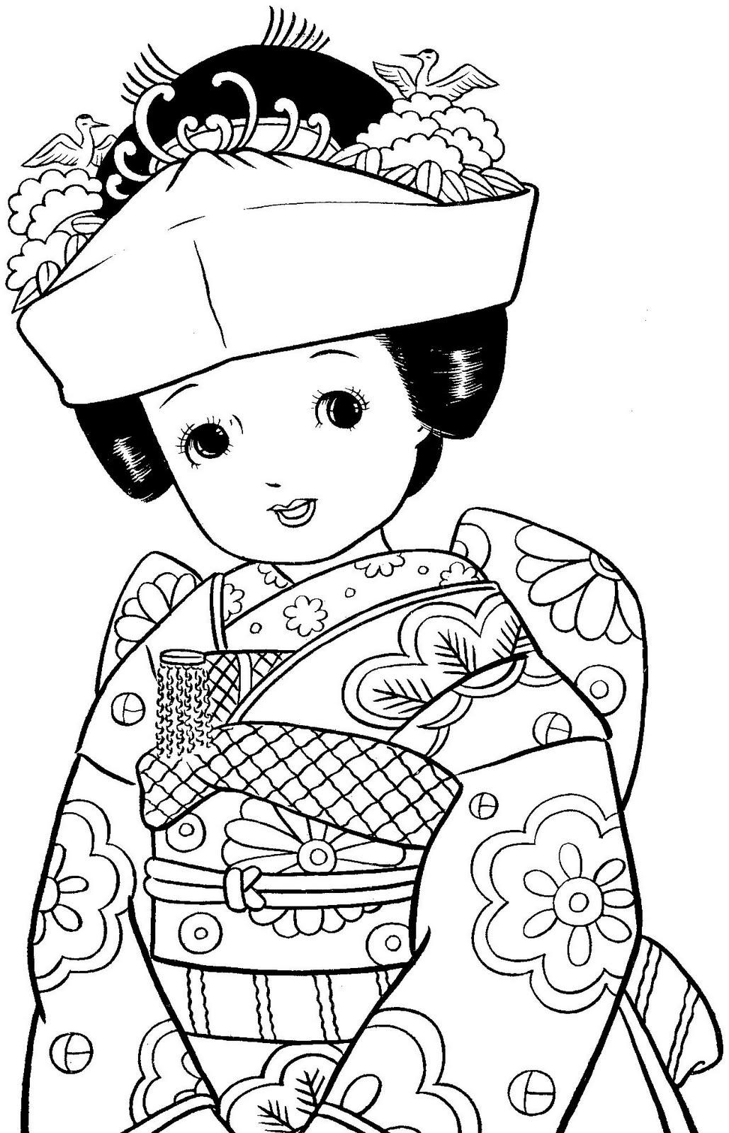 Menininhas Japonesas Para Colorir