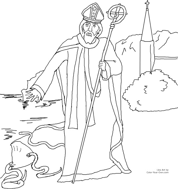 Really Beautiful St Patrick Catholic Coloring Page Free To Print