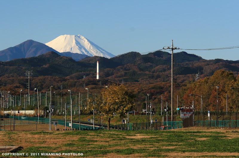 片倉つどいの森公園からの富士山の眺め
