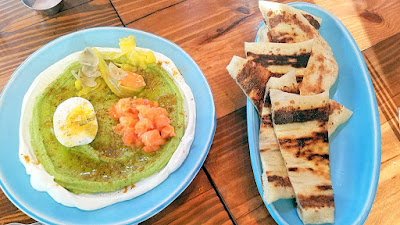 Lincoln Restaurant, Happy Hour item of Asparagus Hummus with labneh, egg and here salmon and accompanied with fresh buttery flatbread from Lincoln Restaurant, Portland flatbread