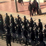 16 March 2011, People's Armed Police march on Ying Xiong Avenue near the main market in Ngaba Town around 5pm, just after protests took place following the self-immolation of Phuntsog.