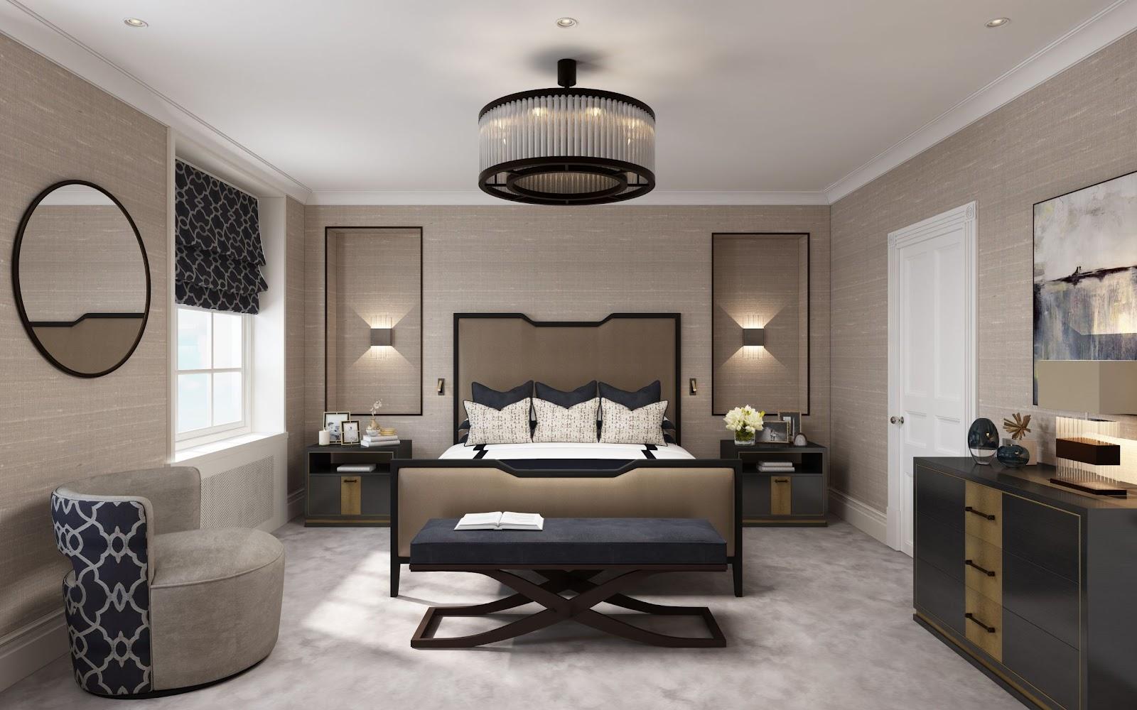 Inspirasi lighting pada kamar tidur dengan memanfaatkan wall sconces, lampu gantung, dan floor lamps - source: luxdeco.com