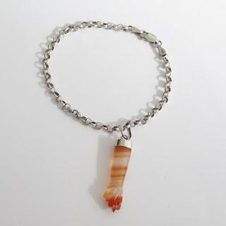Sterling Silver & Orange Fig Sign Stone Pendant Bracelet