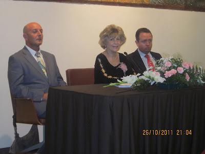 Mesa presidencial. Izda. D. Jesús Quesada Carrasco, comodoro del Real Club Marítimo