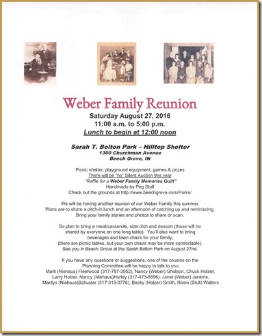 2016 Weber Reunion Announcement on blog