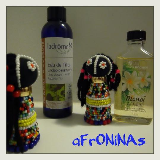 foto afroninas, aceite monoi, agua tilo