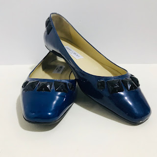 Jimmy Choo Navy Blue Patent Leather Flats