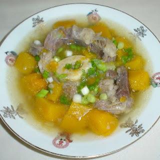 ( Pumpkin beef shank soup.).