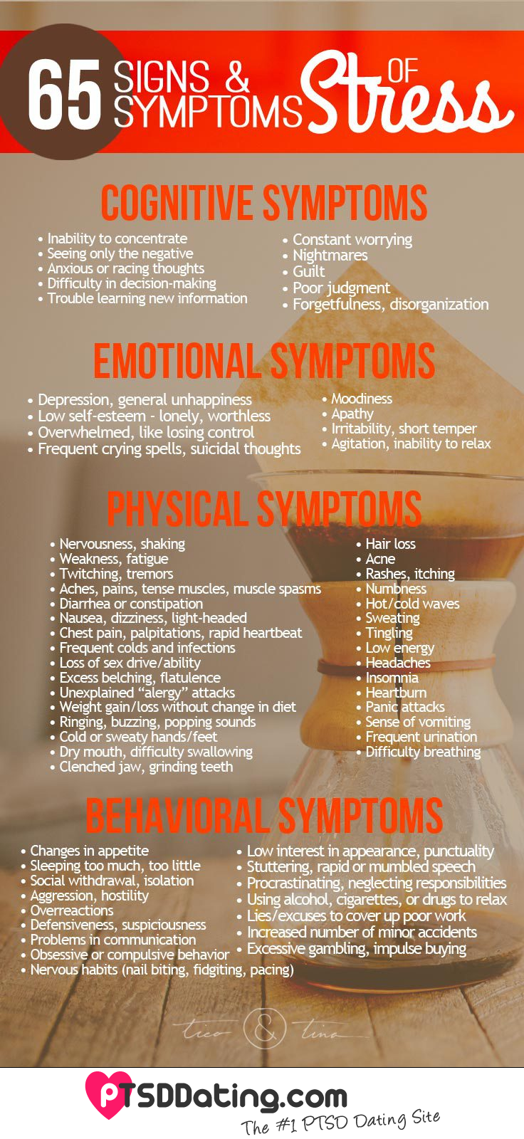 65 Signs & Symptoms Of Stress [PTSD] [Infographic]