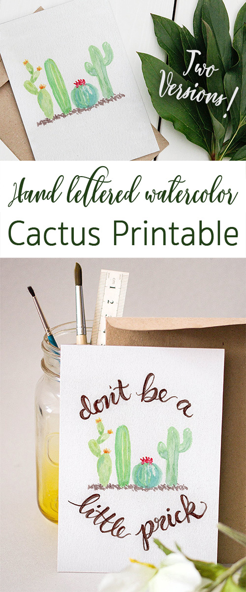 Free Cactus Water Color Printable