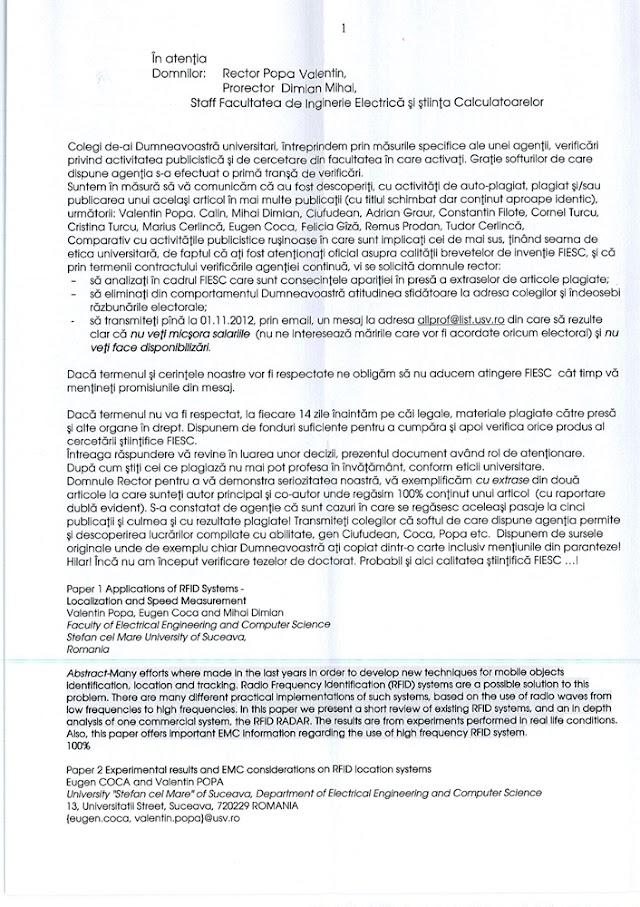 Rectorul Valentin Popa şi alţi 11 profesori de la USV, acuzaţi de plagiat