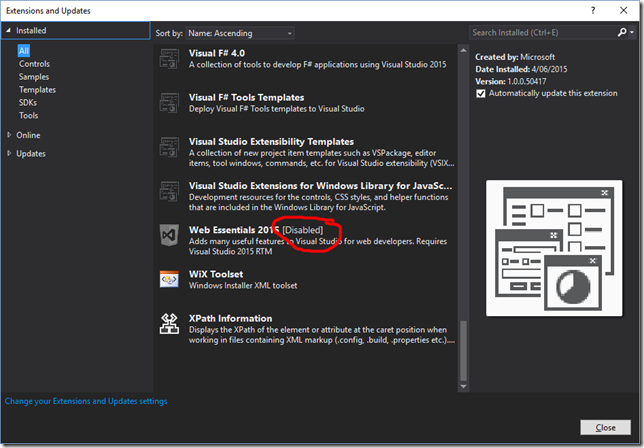 Visual Studio Extensions and Updates dialog, showing disabled extension