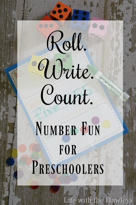 Roll Write Count Number Fun for Preschoolers- Life with the Hawleys