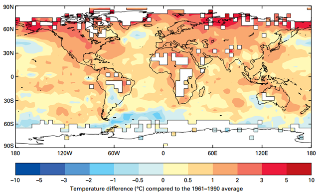 Global temperature anomalies in 2016 (from 1961–1990 reference period) Graphic: WMO / UK Met Office Hadley Centre