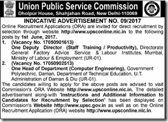 UPSC Advt No 09 2017 Notice www.indgovtjobs.in
