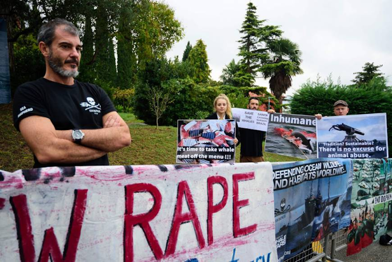 People hold a protest against whaling outside the venue for the 66th International Whaling Commission meeting in Portoroz, Slovenia, on Monday, 24 October 2016. Photo: AFP-JIJI
