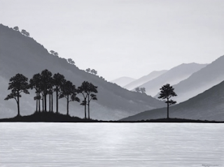 Monochrome NZ landscape with lake & trees