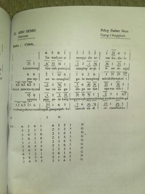 Notasi dan Lirik/Cakepan Jineman Adu Semu Laras Pelog Pathet Nem
