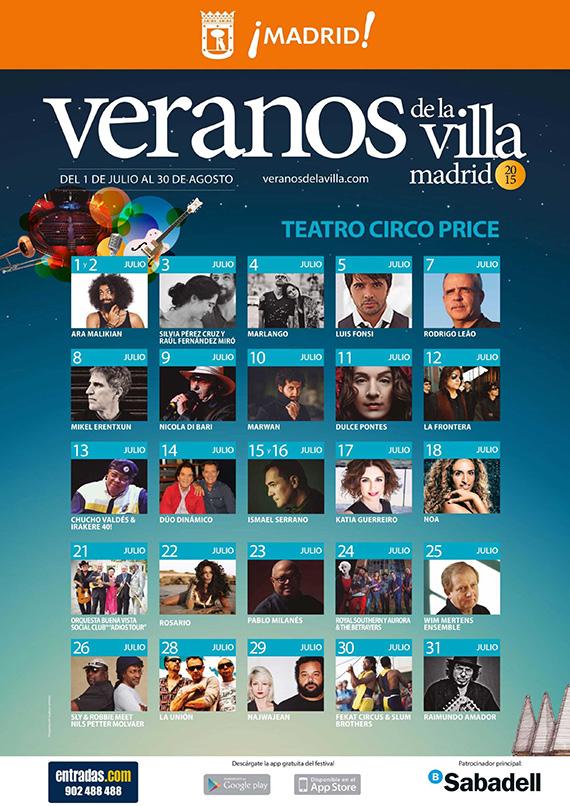 Conciertos de Veranos de la Villa 2015 en el Teatro Circo Price