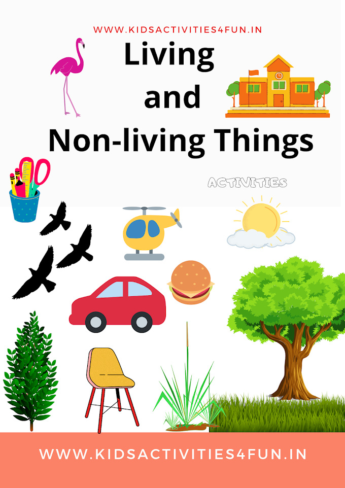 Living & Non-living Things  Activity Experiment for kids and natural & man-made things and class 1 worksheets