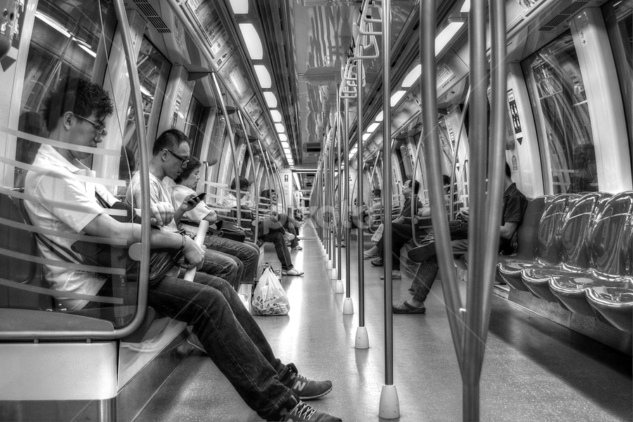 MRT Ride by Richard Idea - Transportation Trains ( black and white, b&w, portrait, people, city, photography, , hdr )