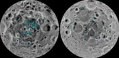 distribuição do gelo superficial nos polos lunares