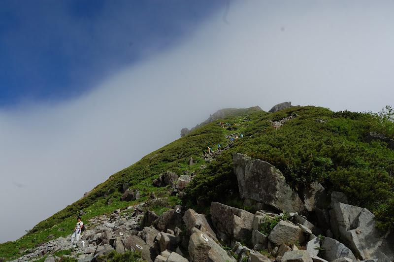 北穂高岳への登り