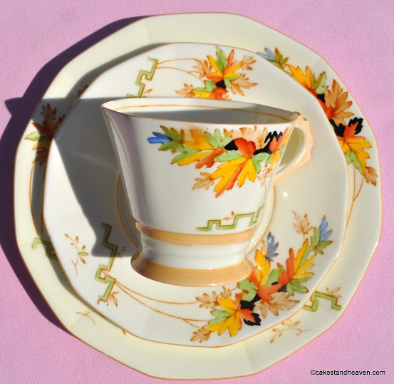 Cream coloured china with hand painted leaves