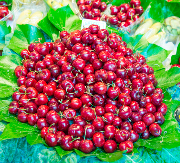 photo of a pile of fresh cherries