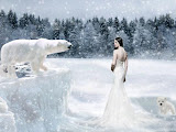 Snow Lady And White Bears