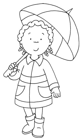 Niña con paraguas para colorear