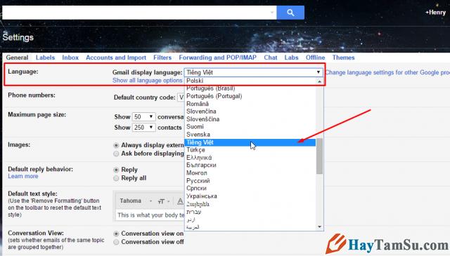 đổi ngôn ngữ gmail