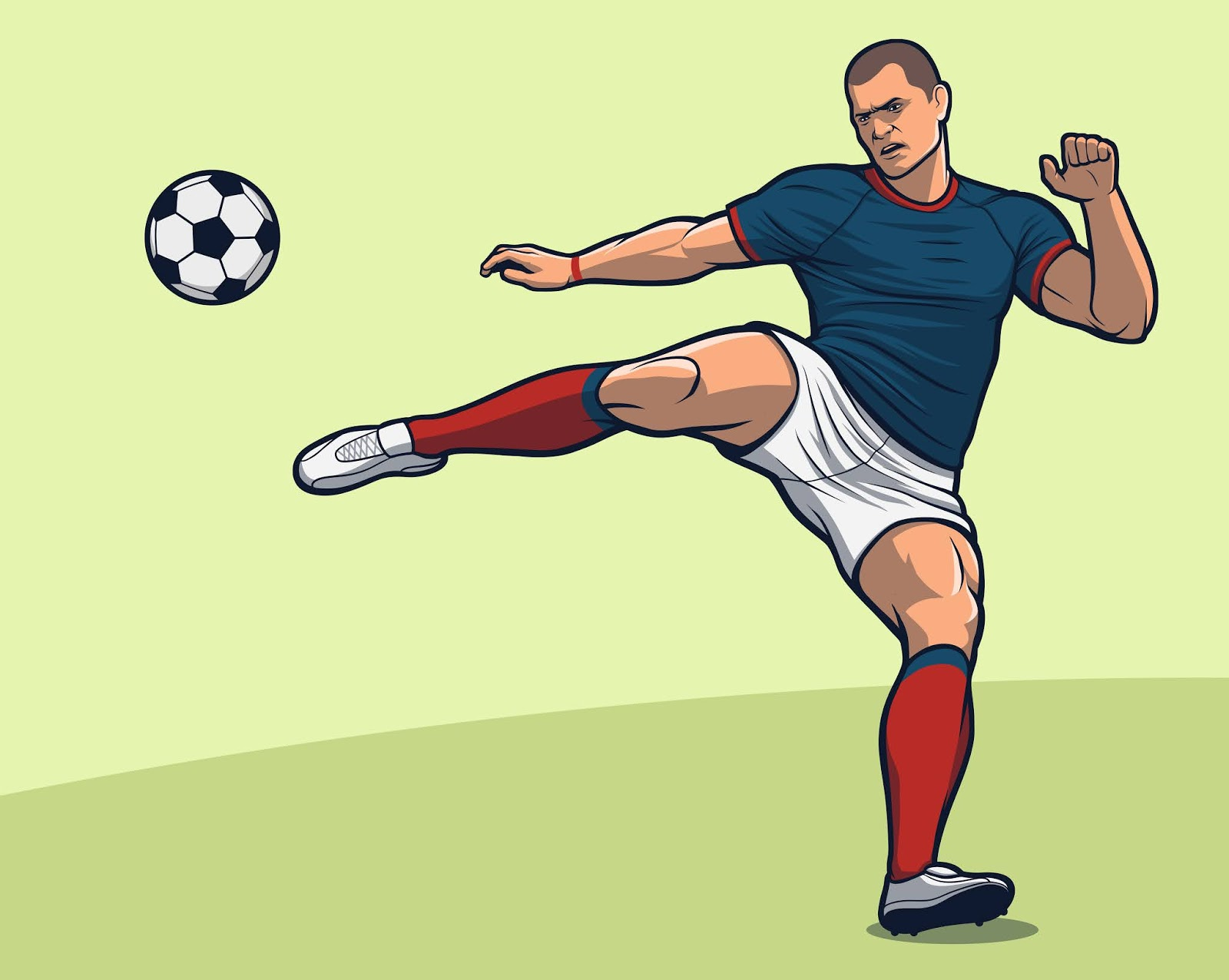 Soccer Player Volley Kick Free Download Vector CDR, AI, EPS and PNG Formats