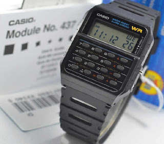 jam tangan Casio CA-53W-1ZD calculator black rubber Original