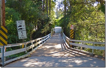 Wooden Bridge over San Lorenzo River, main entrance to camp