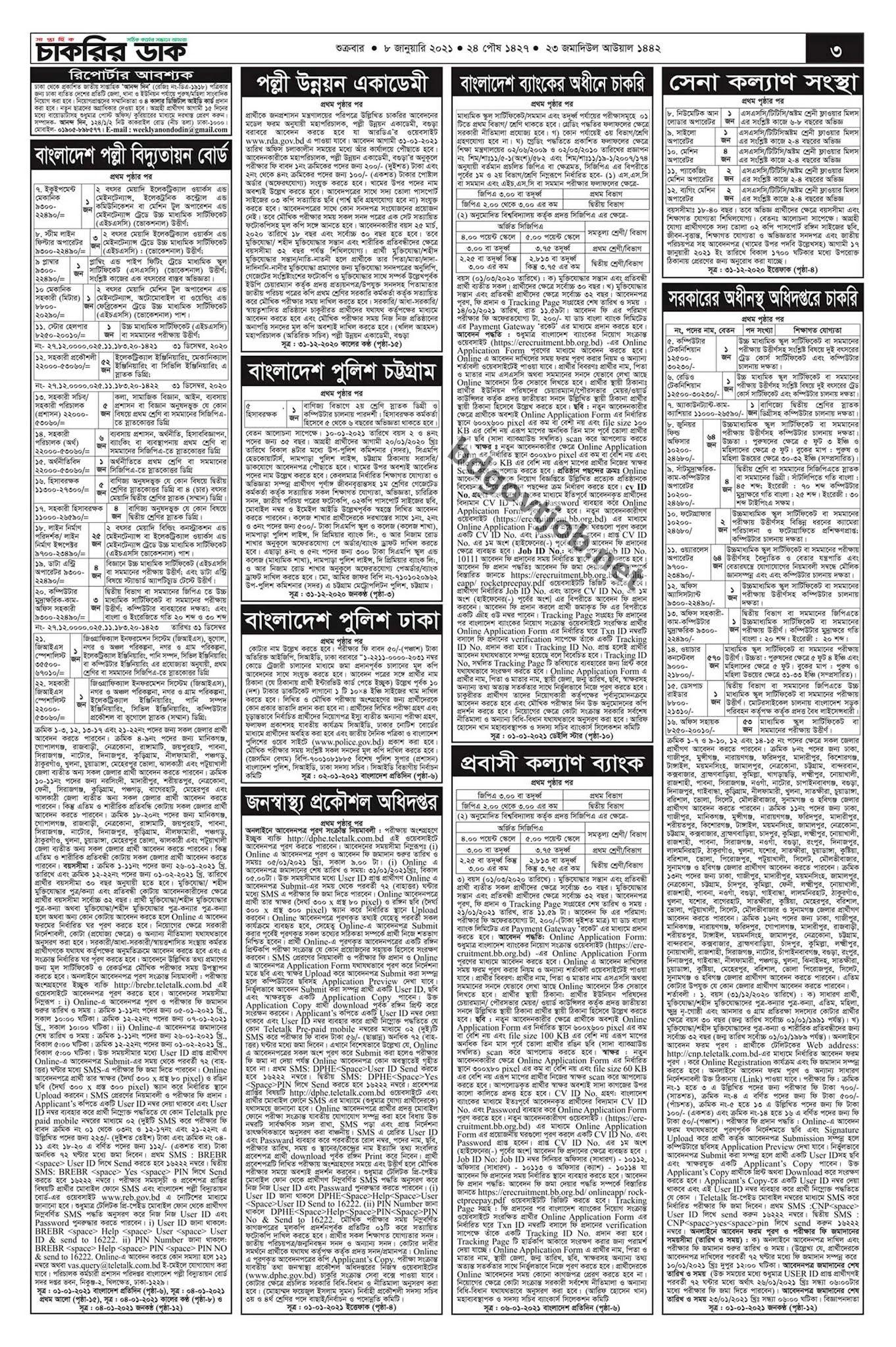 সাপ্তাহিক চাকরির ডাক পত্রিকা ০৮ জানুয়ারি ২০২১ - saptahik chakrir dak potrika 08 january 2021