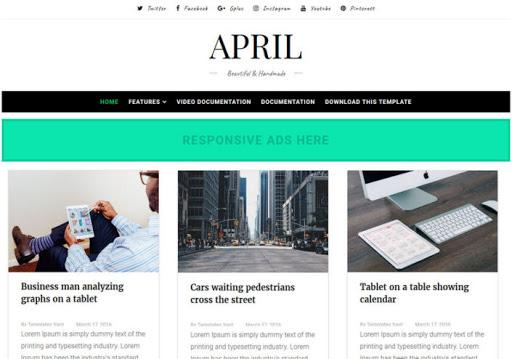 April Premium Blogger Template