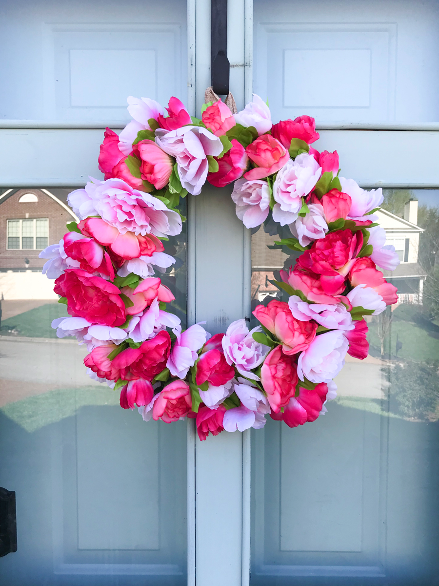 dollar store peony wreath