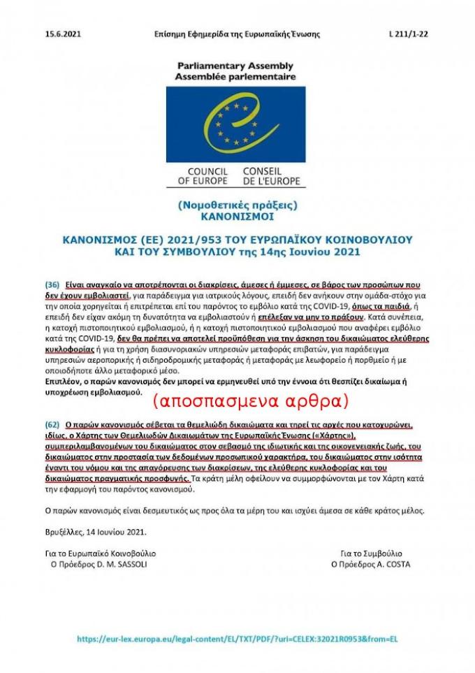 Ο ΚΑΝΟΝΙΣΜΟΣ (ΕΕ) 2021/953 (14-6-2021) ΤΟΥ ΕΥΡΩΚΟΙΝΟΒΟΥΛΙΟΥ ΑΠΟΤΡΕΠΕΙ ΤΙΣ ΔΙΑΚΡΙΣΕΙΣ ΣΤΗΝ ΕΛΕΥΘΕΡΗ ΚΥΚΛΟΦΟΡΙΑ ΚΑΙ ΚΑΛΕΙ ΤΑ ΚΡΑΤΗ ΝΑ ΣΥΜΜΟΡΦΩΝΟΝΤΑΙ ΣΤΗΝ ΕΦΑΡΜΟΓΗ ΤΟΥ