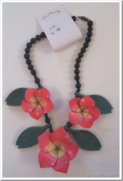 Large Wooden Flower Lily Exotic Necklaaaace