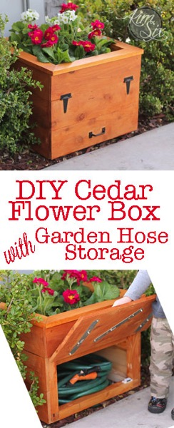 DIY Cedar Flower Box With Hidden Hose Storage