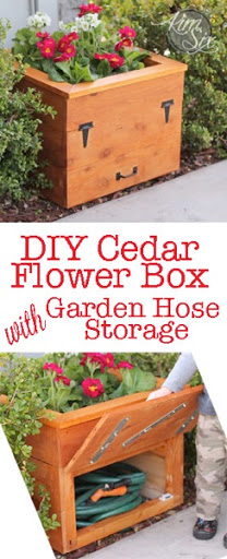 diy cedar flower box with hidden hose storage - Garden Hose Storage