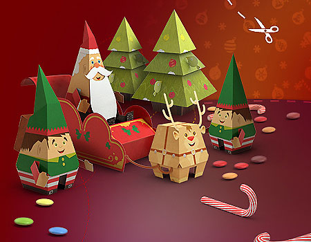 Very Merry HP Christmas Papercraft Set
