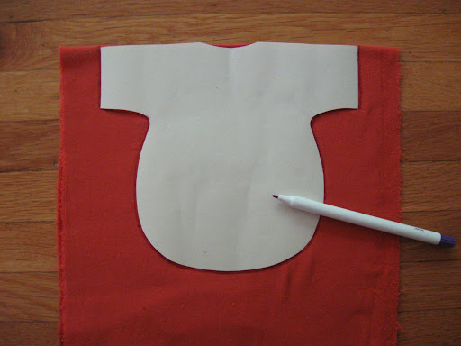 trace pattern onto doubled fabric, lining up with fold