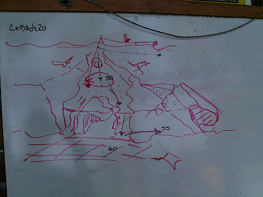 During our briefing on the site, our divemaster drew a rough sketch of the reef formation.